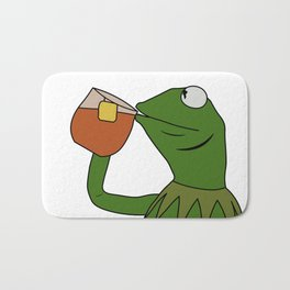 Kermit Inspired Meme King Sipping Tea Bath Mat