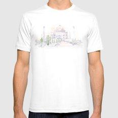Watercolor landscape illustration_India - Taj Mahal Mens Fitted Tee MEDIUM White