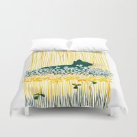 clover Duvet Covers featuring Clover Cat by Priscilla Moore