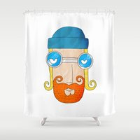 jack nicholson Shower Curtains featuring Jack by marcusmelton