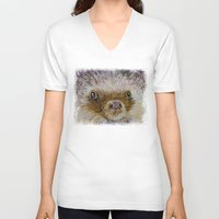 hedgehog V-neck T-shirts featuring Hedgehog by Michael Creese