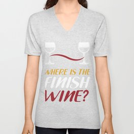Wine Goal Race Funny Drink Colored Gift Unisex V-Neck