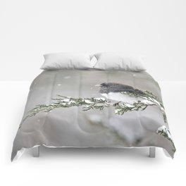 Snowbird on a Snowy Branch (Junco) Comforters