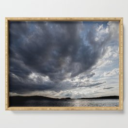 Dark Clouds Coming Over Lake In Scandinavia Serving Tray