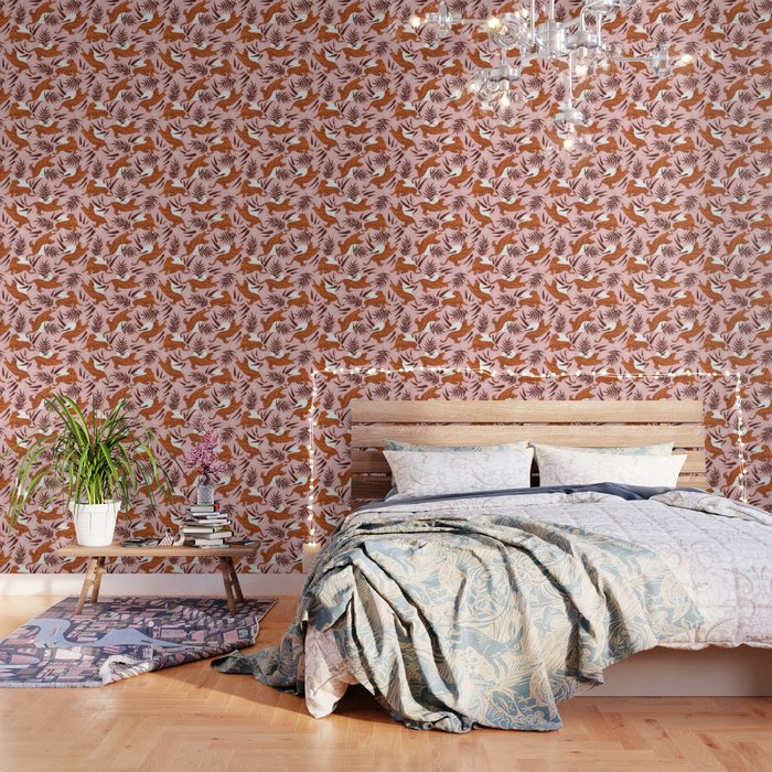 Vibrant Wilderness / Tigers on Pink Wallpaper