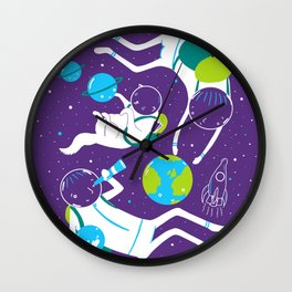 A Day Out In Space - Purple Wall Clock