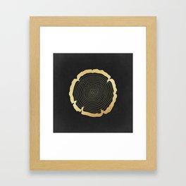 Metallic Gold Tree Ring on Black Framed Art Print