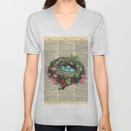 Bird Nest on Dictionary Page Unisex V-Neck