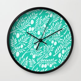 Turquoise Olive Branches Wall Clock