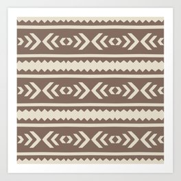 Brown African Ethnic Geometric Pattern Art Print