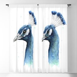 Peacock Watercolor Exotic Bird Animals Blackout Curtain