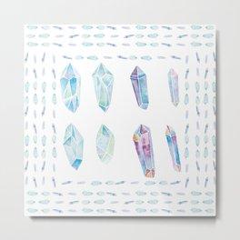 Watercolor Gemstones Metal Print