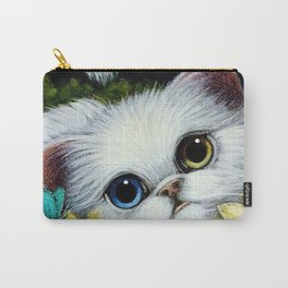 SPRING WHITE PERSIAN CAT with ODD EYES & YELLOW FLOWERS Carry-All Pouch