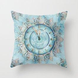 Clock Christmas mandala Throw Pillow