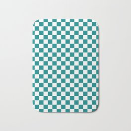 White and Teal Green Checkerboard Bath Mat