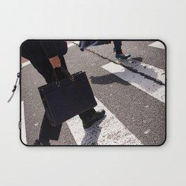 Group of businessmen and women walk along crosswalk in Shinjuku, Tokyo, Japan Laptop Sleeve