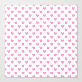 Pink Hearts on White Canvas Print
