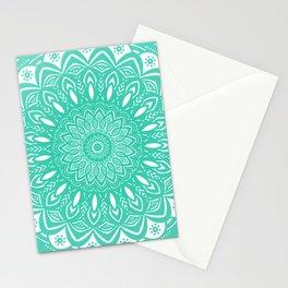 Minimal Aqua Seafoam Mint Green Mandala Simple Minimalistic Stationery Cards