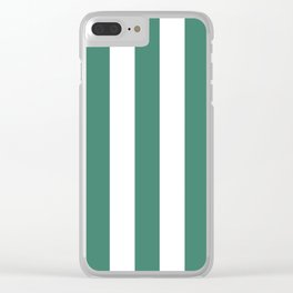 Viridian blue - solid color - white vertical lines pattern Clear iPhone Case