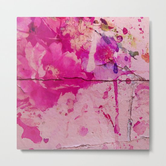 pink floral on crumbling wall Metal Print