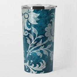 Aqua Teal Vintage Floral Damask Pattern Travel Mug