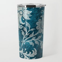 Aqua Teal Vintage Floral Damask Pattern Travel Mug