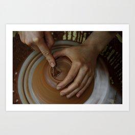 Trimming a pot Art Print