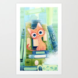 Ginger cat with glasses Art Print