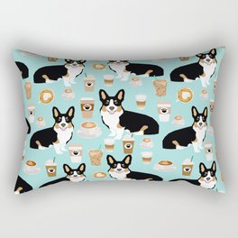 Welsh Corgi tri colored coffee lover dog gifts for corgis cafe latte pupuccino Rectangular Pillow