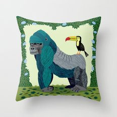 The Gorilla and The Toucan Throw Pillow