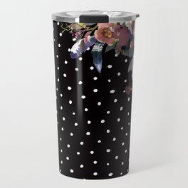 Boho Flowers and Polka Dots on Black Travel Mug