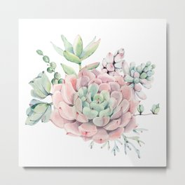 Pink Succulents by Nature Magick Metal Print