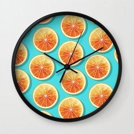 Orange Slices on Blue Wall Clock