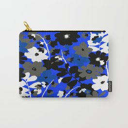 SUNFLOWER TRELLIS BLUE BLACK GRAY AND WHITE TOILE Carry-All Pouch