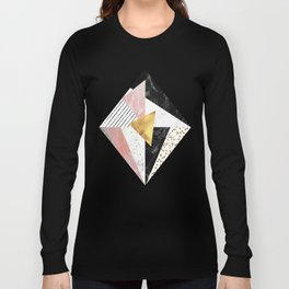 Elegant geometric marble and gold design Long Sleeve T-shirt