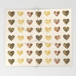 Gold and Chocolate Brown Hearts Throw Blanket