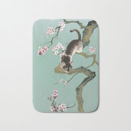 Fortune Cat In Cherry Tree Bath Mat