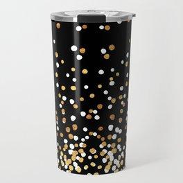 Floating Dots - White and Gold on Black Travel Mug