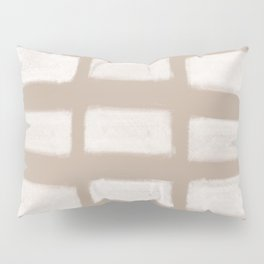 Brush Strokes Horizontal Lines Off White on Nude Pillow Sham
