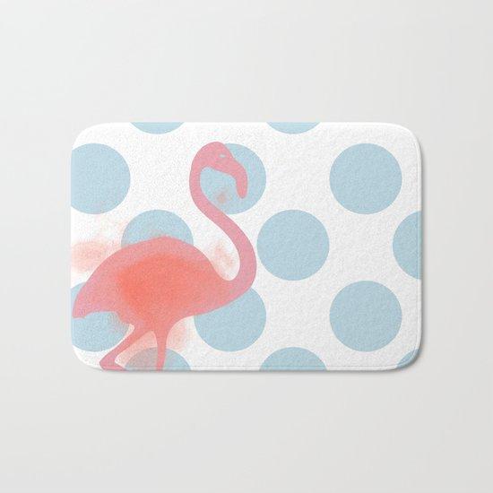 Flamingo on polka dots blue Bath Mat