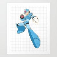 mega man Art Prints featuring Mega-Man by HypersVE