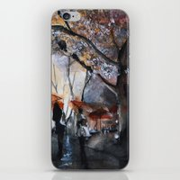 rain iPhone & iPod Skins featuring Autumn rain - watercolor by Nicolas Jolly