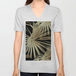 Brown On Black Tropical Vibes Beach Palmtree Vector Unisex V-Neck