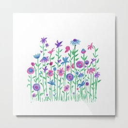 Cheerful spring flowers watercolor Metal Print