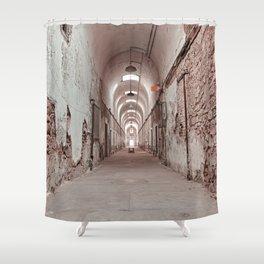 Crimson Prison Corridor Shower Curtain