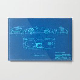 Sports Card Diagram - Spyder - Blueprint Style Metal Print