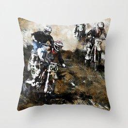 """Dare to Race"" Motocross Dirt-Bike Racers Throw Pillow"