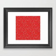 PolkaDots-White on Red Framed Art Print