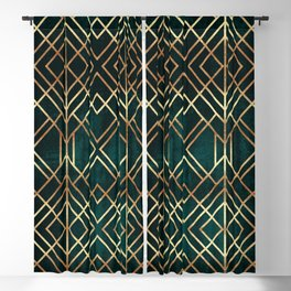 Dark Teal Geo Blackout Curtain