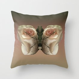 Vanilla Butterfly Roses Throw Pillow